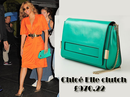 Beyoncé in a green Chloé Elle clutch with an orange draped dress