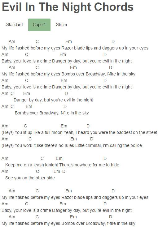 Capo 1 Evil In The Night Chords Adam Lambert | Evil In The N… | Flickr