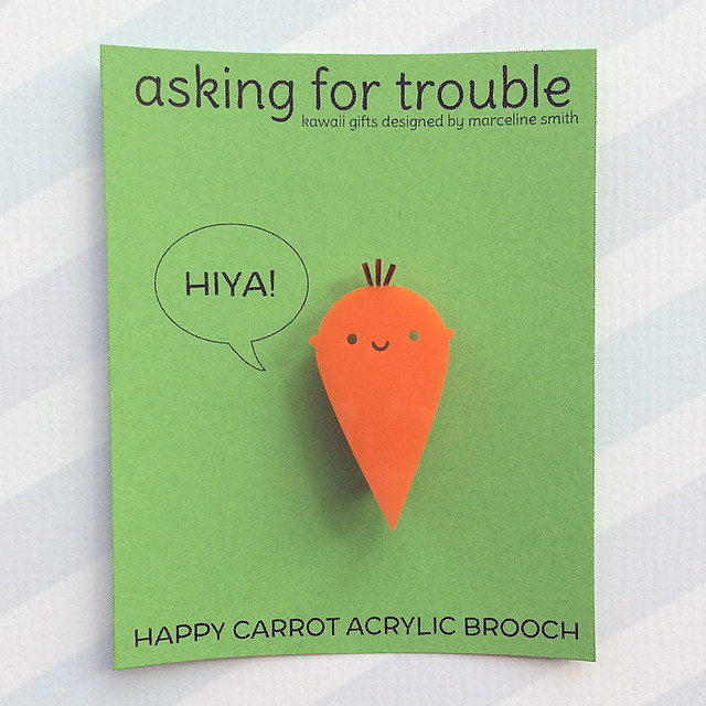 Happy Carrot Acrylic Brooch