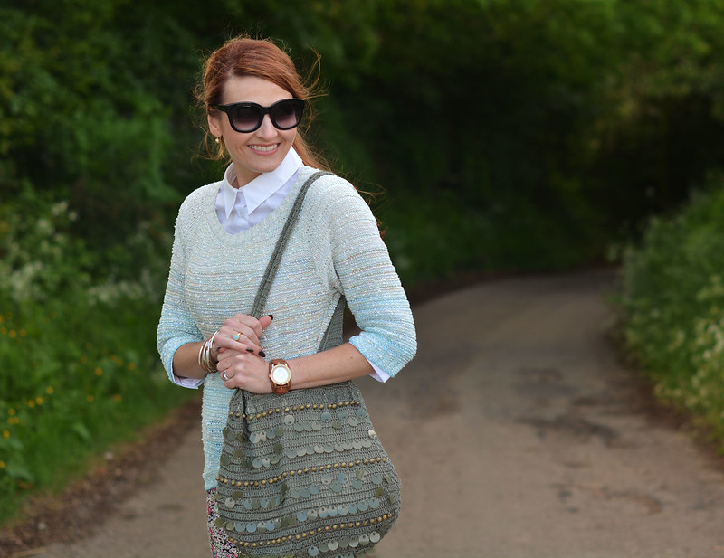 Summer layers | Ombre pastel sweater, white button down, sequinned hobo bag