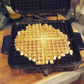 My mother-in-law's old waffle iron. There's something to be said for old-school things. #waffles #vintage #Yum