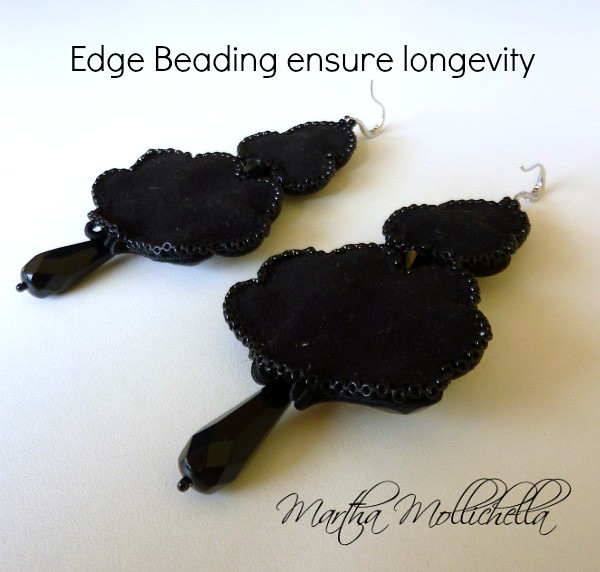 Edge beading ensure earrings longevity by Martha Mollichella