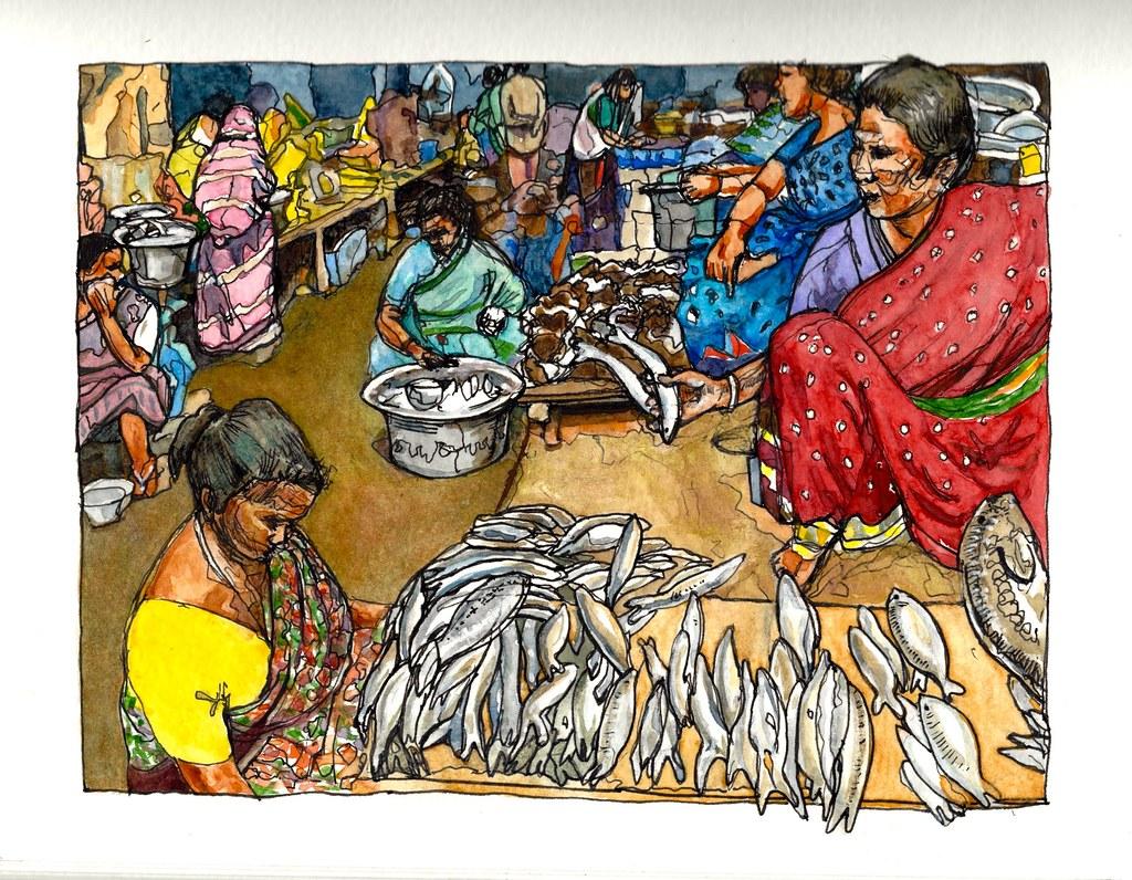 Fish Market In The Grand Bazaar Pondicherry India