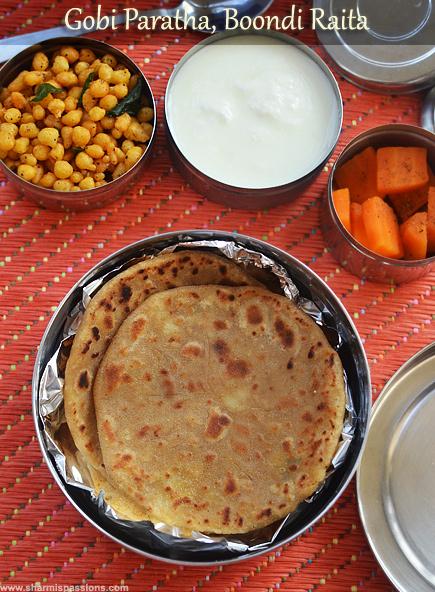 Gobi Paratha, Boondi Raita