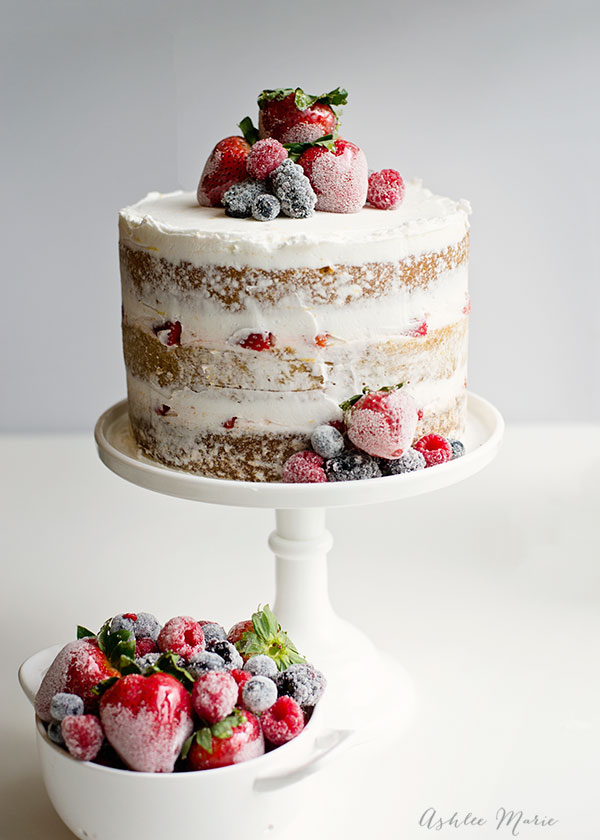 Naked Cake With Candied And Sugared Berries Ashlee Marie