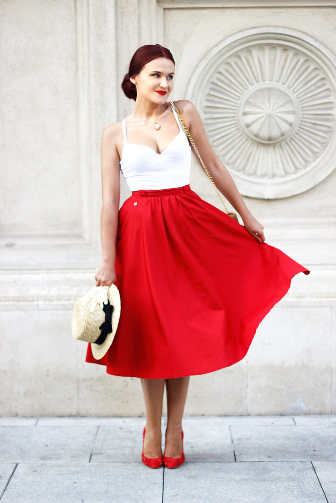 red midi skirt6