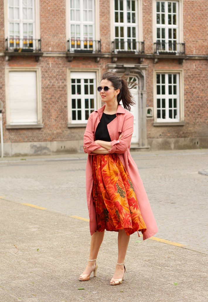 outfit: pink trench coat, vintage circle skirt, gold heeled sandals