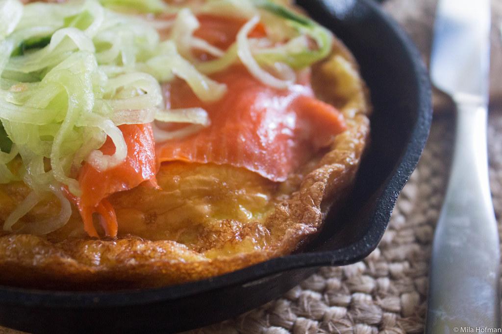 Salmon over omelet