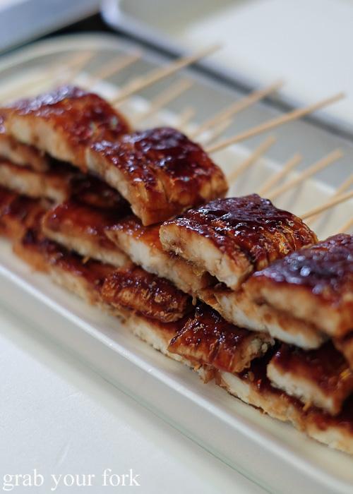 Glazed unagi eel skewers at Nishiki Market, Kyoto