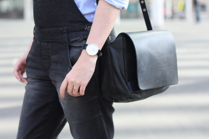 overalls, daniel wellington watch, satchel bag