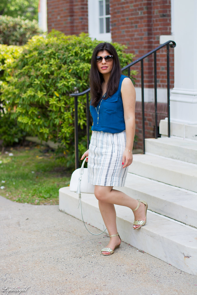 striped linen skirt, blue tank, white bag.jpg