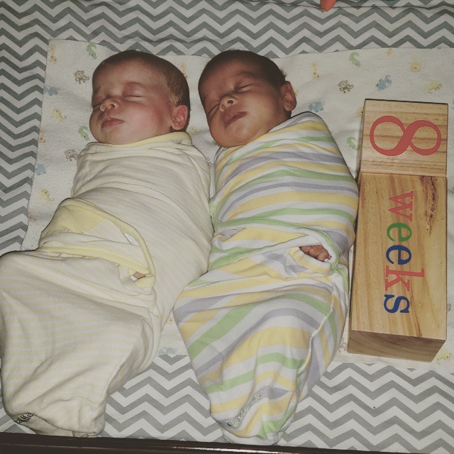 8 weeks (and an hour) ♡ #twins #babies #snuggles #milestones #lilburghers