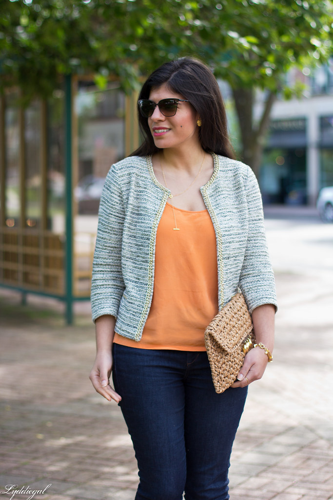 textured jacket, orange tank, denim, straw clutch-4.jpg