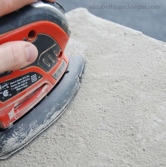 Sanding Concrete Table Top