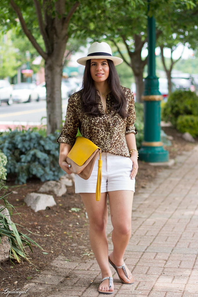 leopard shirt, white shorts, panama hat, kicksusa sandals.jpg