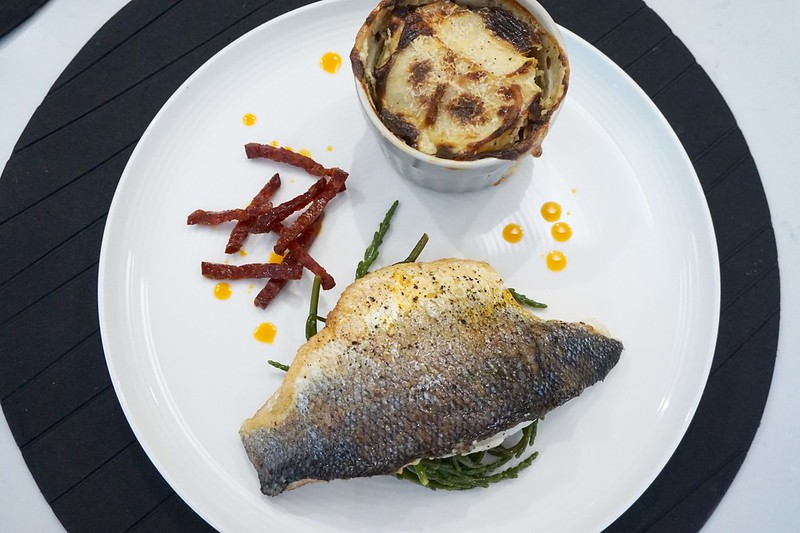 pan fried sea bass chorizo dauphinois potatoes