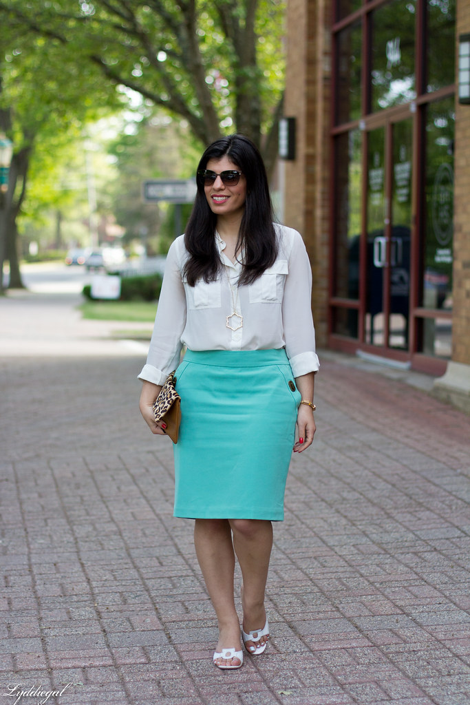 mint green pencil skirt, white blouse, leopard clutch-3.jpg