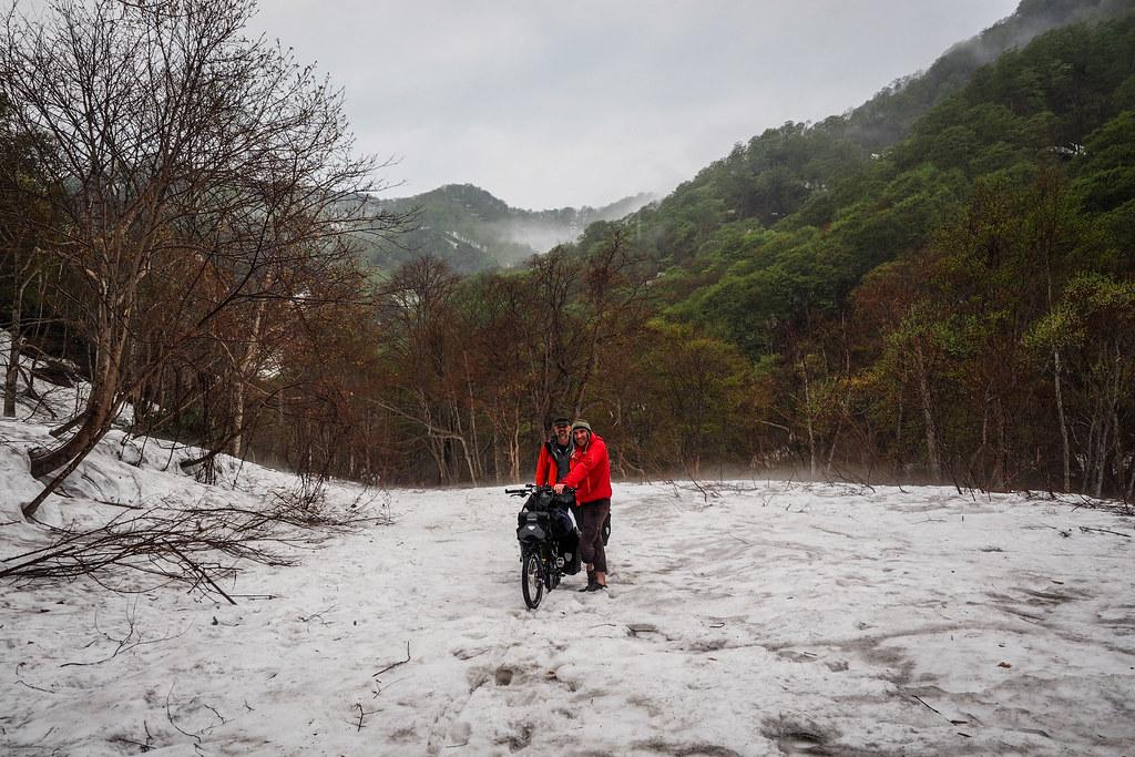 Struggling along the Makomanai forestry road near Kitahiyama, Hokkaido, Japan