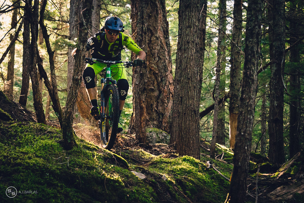 Dylan Wolsky kicks up loam on Westside, Whistler