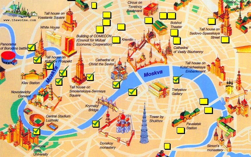 Mapa de los principales monumentos a la orilla del río de Moscú