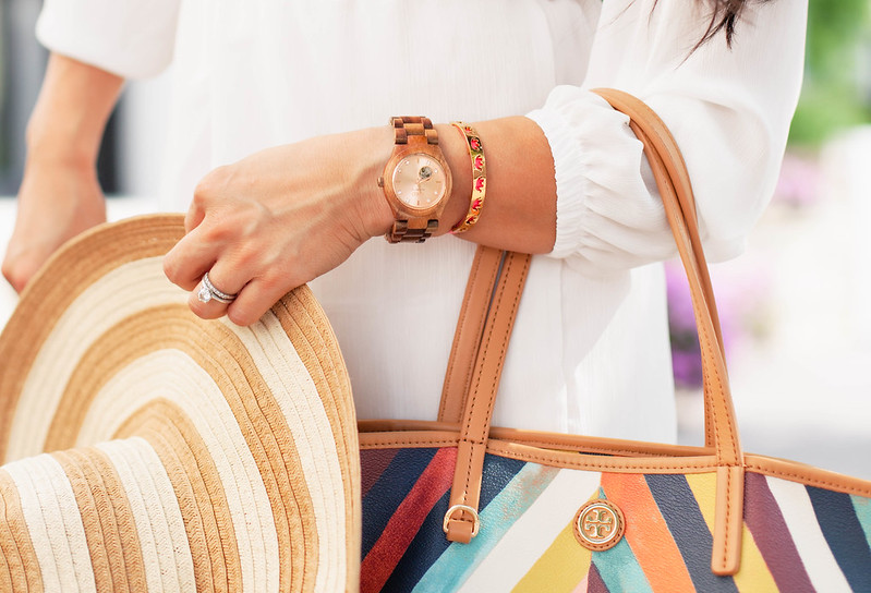 cute & little blog | petite fashion | striped floppy sun hat, tory burch kerrington tote, jord wooden watch review | accessories