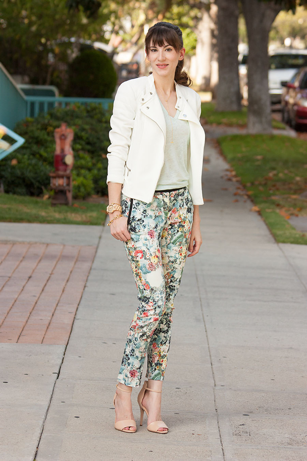 Floral Pants, Mint Tee, White Moto Jacket, Jord Watch