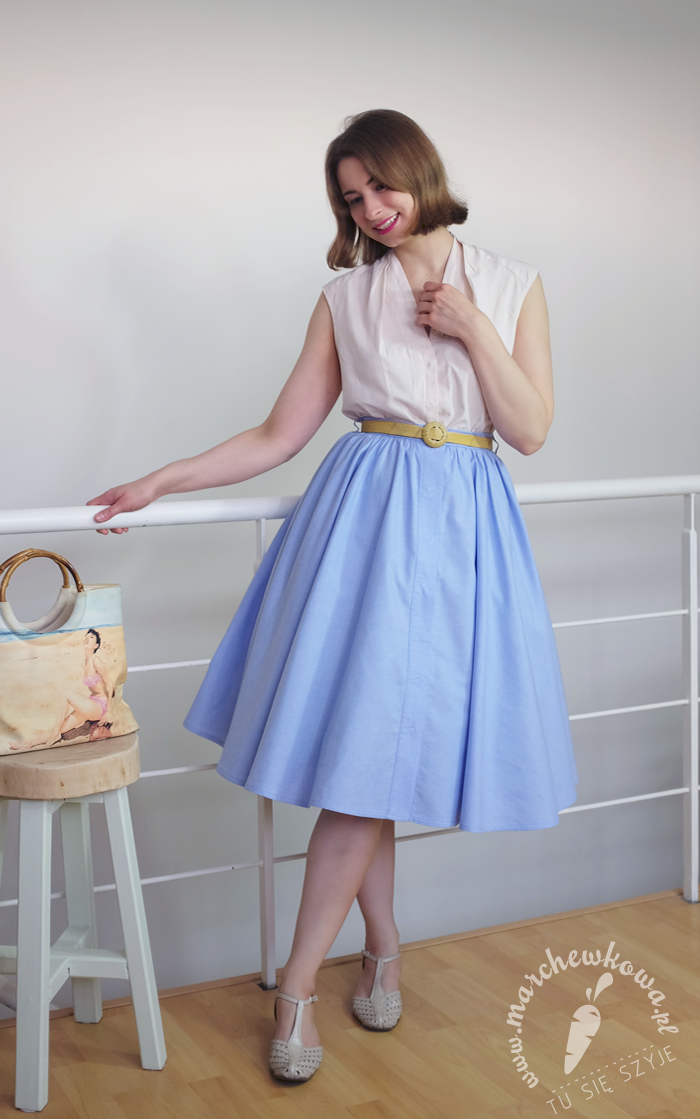 marchewkowa, Burda Vintage 2014, Capri Skirt, szycie, blog, krawiectwo, moda retro, vintage, lata '50., diy, handmade, 50s, half-circle skirt, blouse, summer, fashion