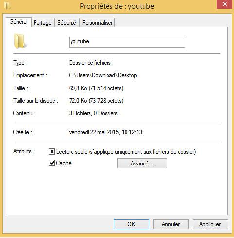 cacher un dossier sur windows