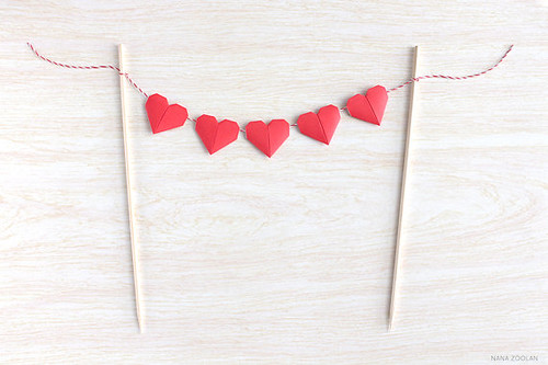 Mini Origami Heart Cake Garland Bunting from NANA ZOOLAN