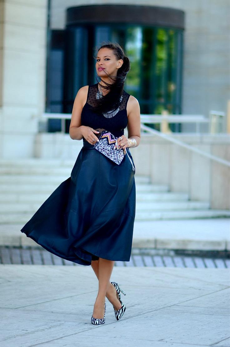 DSC_5130 Tamara Chloé, Leather Midi Skirt, Zara Glitter Box, Bershka Body top, Coin Necklace3