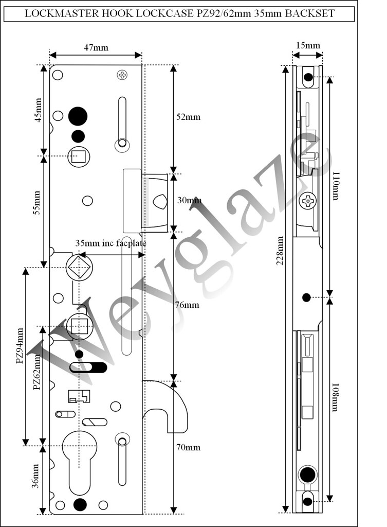 Upvc door lock lockmaster 35mm backset pz92 62mm lock case for Upvc french door locking mechanism