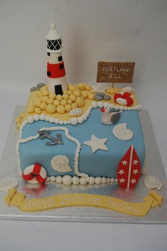 Pleasant Seaside And Lighthouse Cake Beautiful Birthday Cakes Birthday Cards Printable Giouspongecafe Filternl