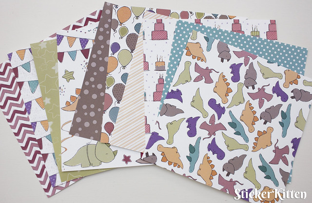 StickerKitten Birthday Dinos paper packs