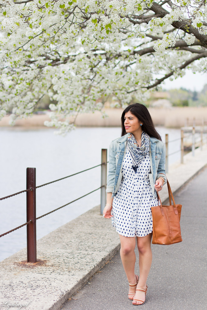 polka dot shirt dress, denim jacket, scarf-2.jpg