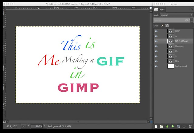 GIMP Making and Ordering Layers for a GIF