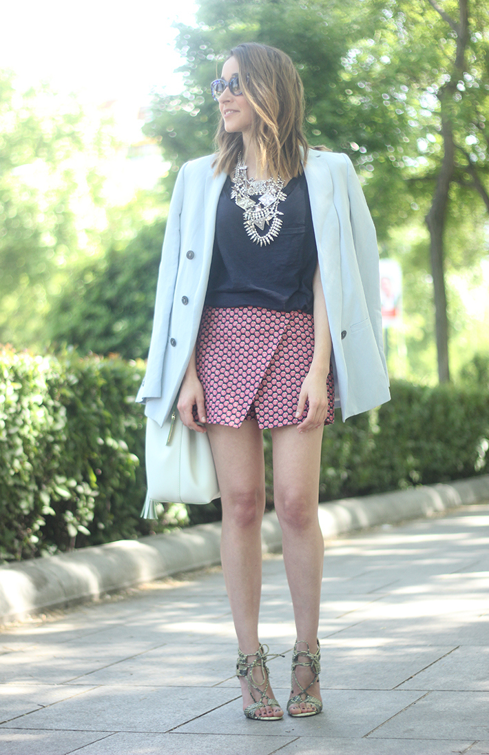 Shorts, Pink, Blue, Uterqüe, Heels, 16