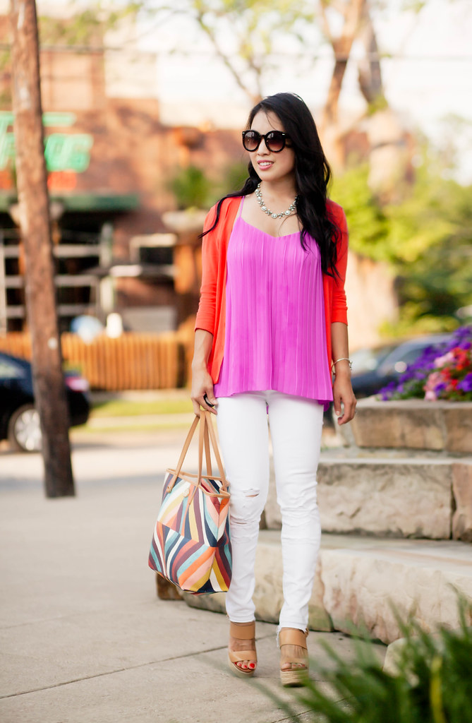 cute & little blog | coral cardigan, magenta pleated accordian cami, white distressed jeans, nude wedges, tory burch kerrington tote | spring summer outfit