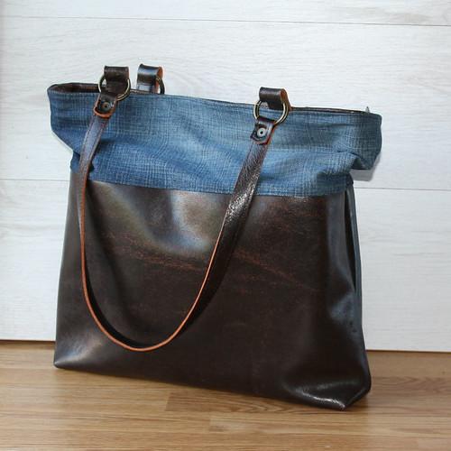 handgemaakte tas van gerecycled leer
