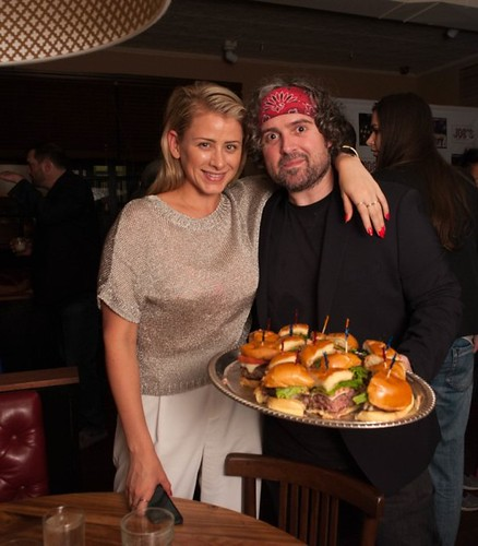Lo Bosworth and owner Anthony Serignese at the Grand Opening of Joe's Bar NYC