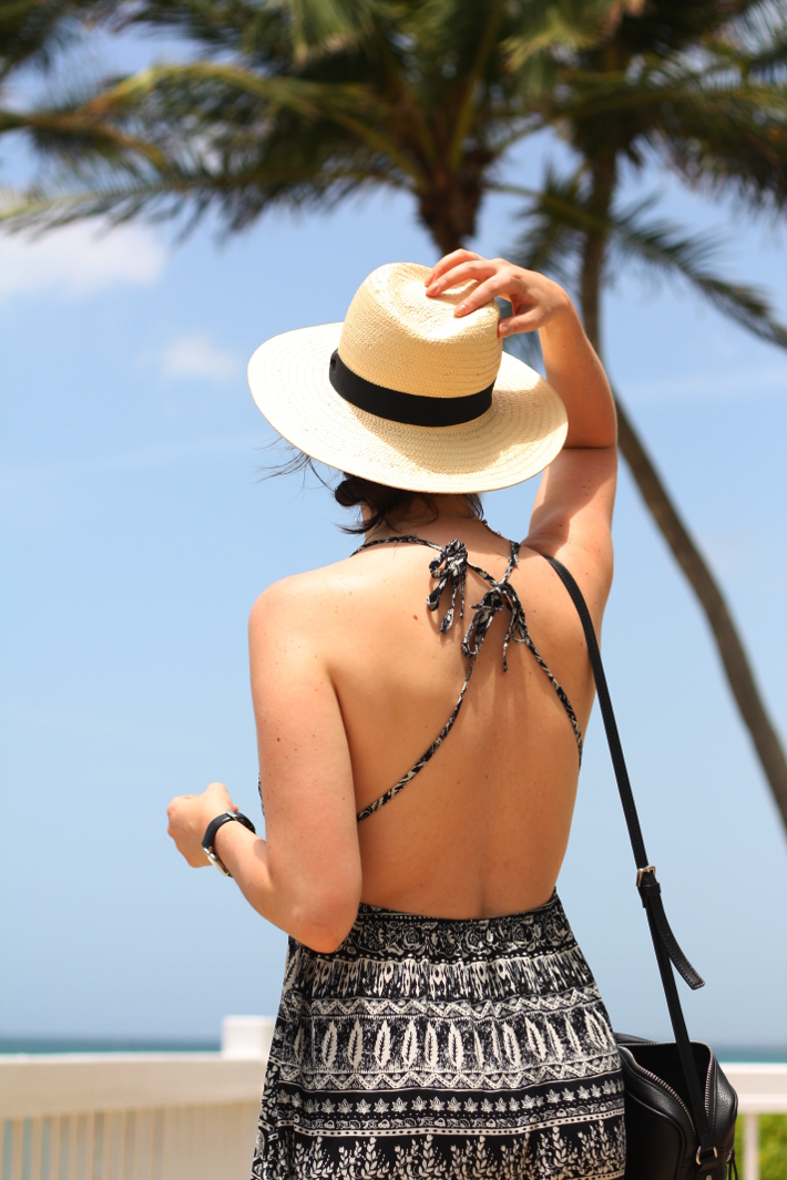 tropical vacation outfit: havana hat, open back sundress