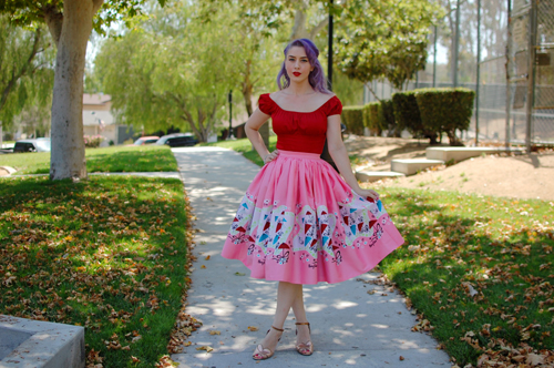 Pinup Girl Clothing Jenny skirt in Mary Blair Umbrella print