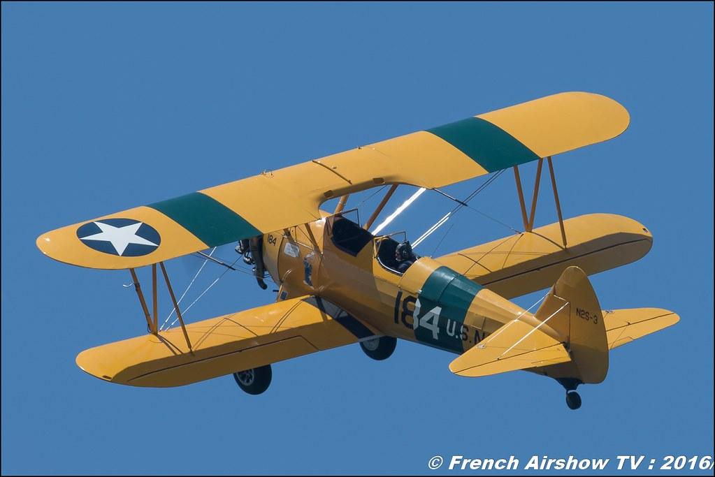 Boeing Stearman PT 18, F-AZST ,Stearman d' Aeroretro Saint Rambert d'Albon ,Grenoble Air show 2016 , Aerodrome du versoud , Aeroclub du dauphine, grenoble airshow 2016, Rhone Alpes