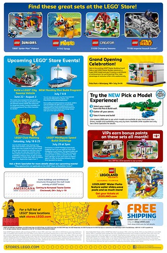 July 2015 LEGO Store Calendar