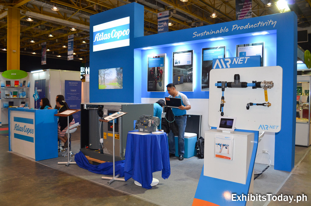 Right side of Atlas Copco exhibit booth