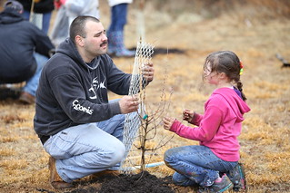 Adult and child planting tree seedling