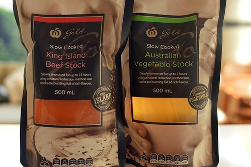 Woolworths King Island beef stock, vegetable stock