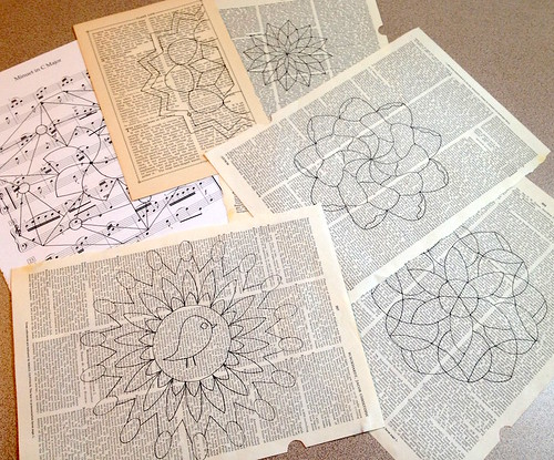 Prepping mandalas on book pages