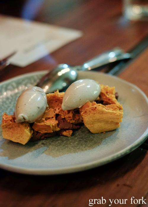 Banana ice cream with smoked ganache and wild honeycomb at Firedoor by Lennox Hastie, Surry Hills