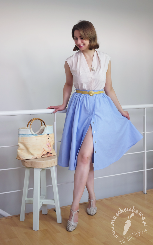 marchewkowa, Burda Vintage 2014, Capri Skirt, szycie, blog, krawiectwo, moda retro, vintage, lata '50., diy, handmade, 50s, half-circle skirt, blouse, summer, fashion