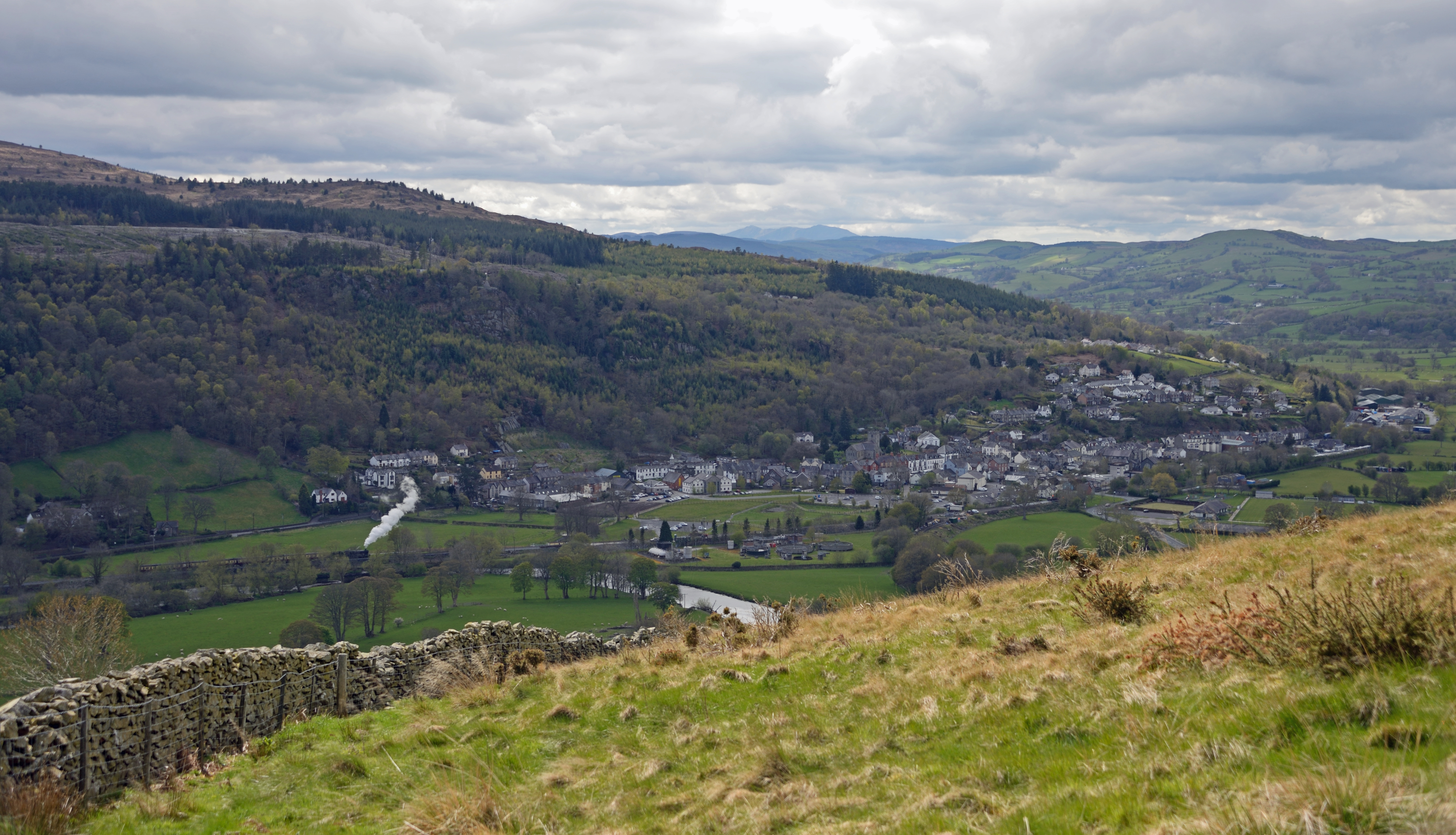 Corwen town in the Dee Valley